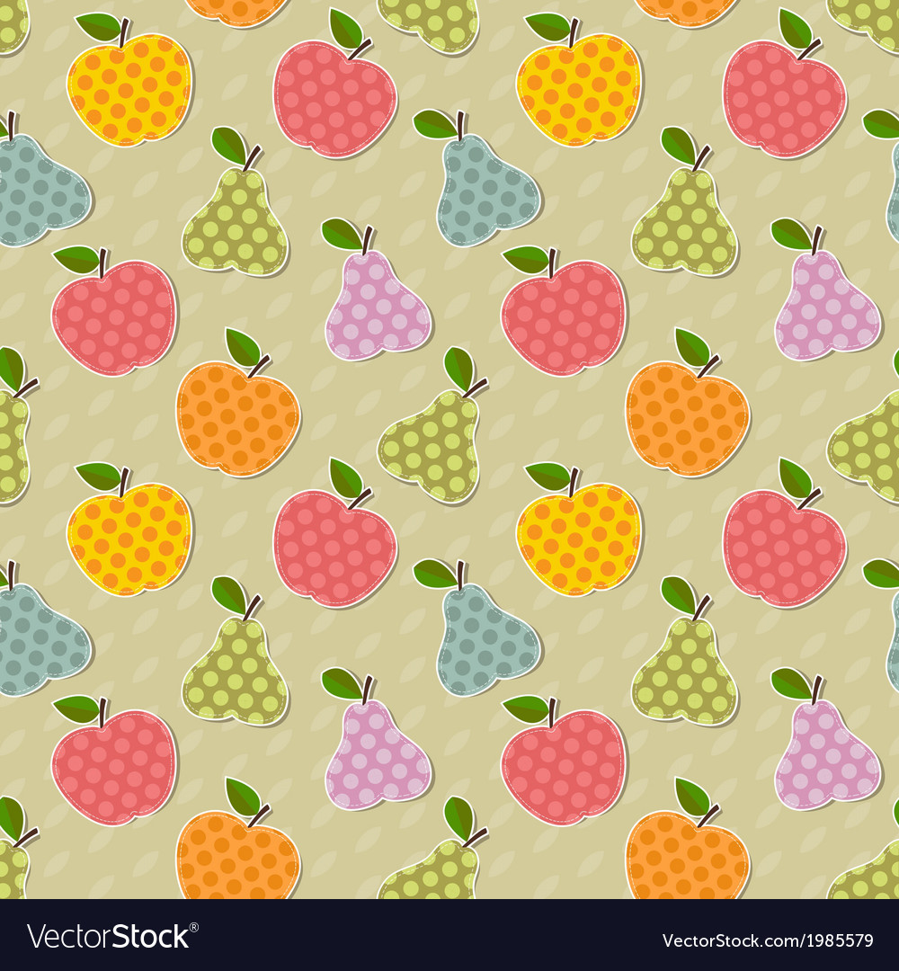 Seamless colorful apple and pear pattern vector   Price: 1 Credit (USD $1)