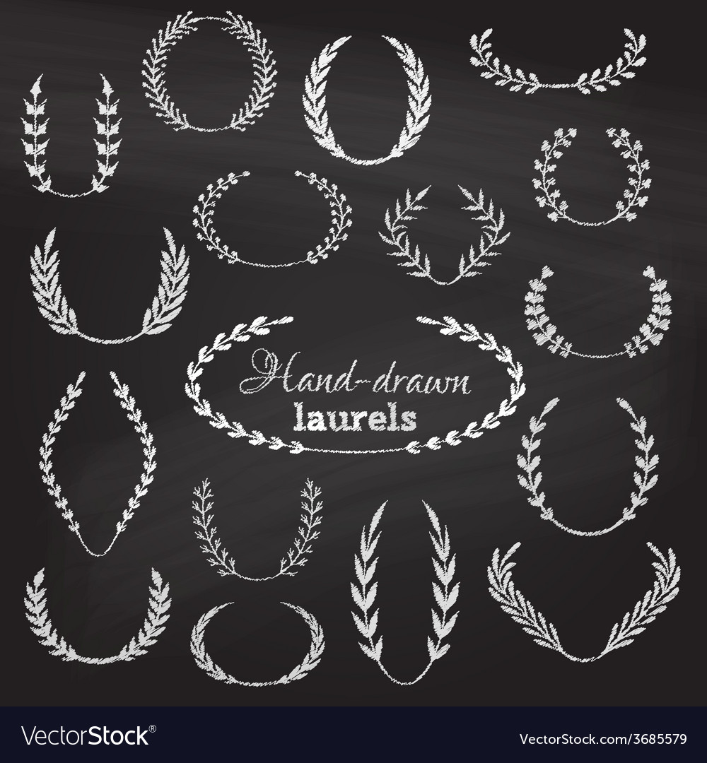 Set of chalk wreaths vector | Price: 1 Credit (USD $1)
