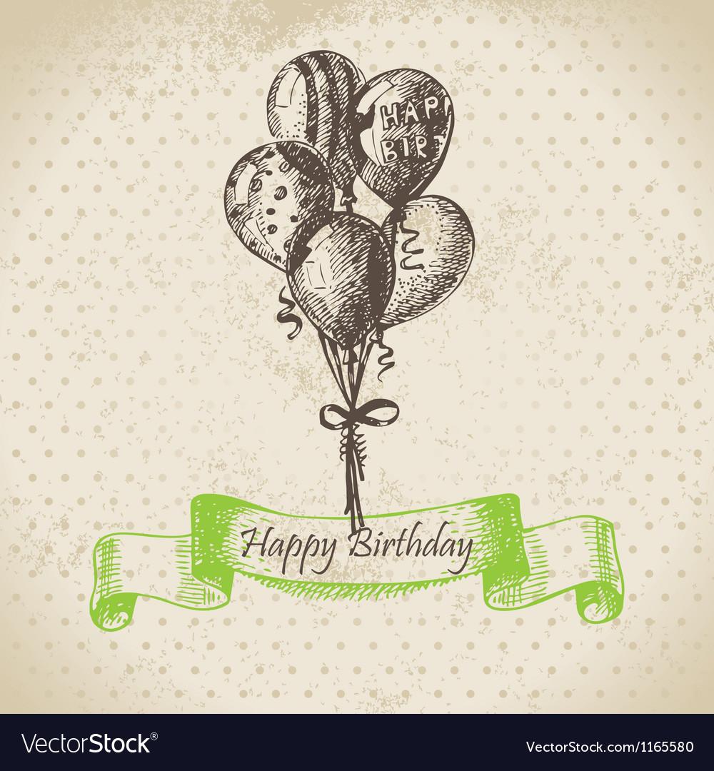 Balloons happy birthday hand drawn vector | Price: 1 Credit (USD $1)