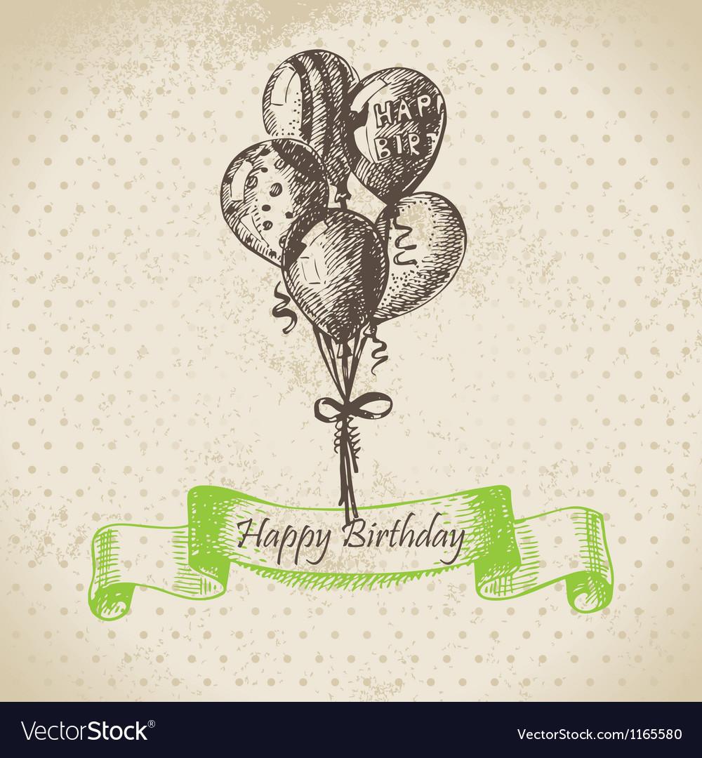 Balloons happy birthday hand drawn vector | Price: 1 Credit (USD $1)