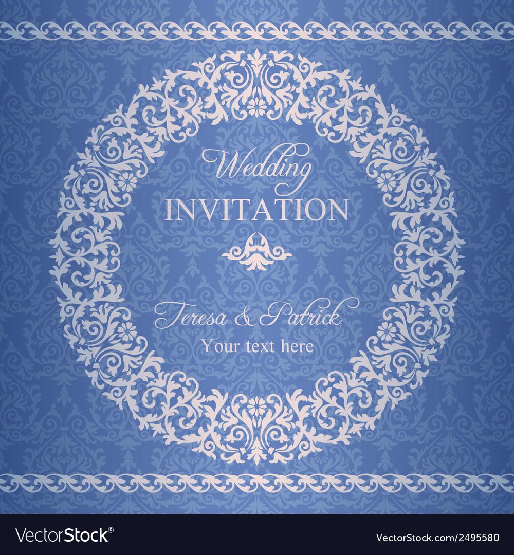 Baroque wedding invitation navy blue vector | Price: 1 Credit (USD $1)
