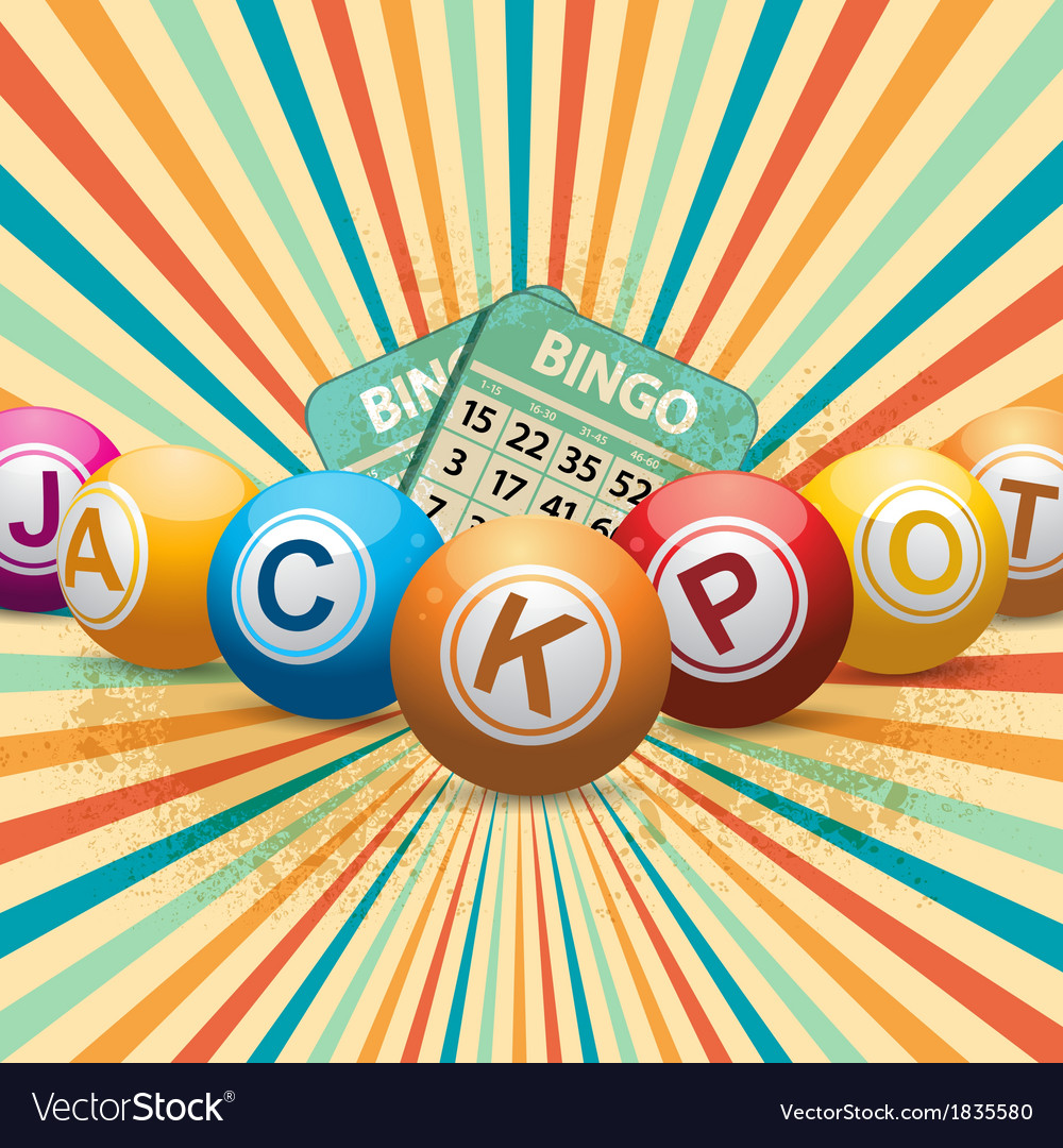 Bingo balls and cards on retro starburst vector | Price: 1 Credit (USD $1)