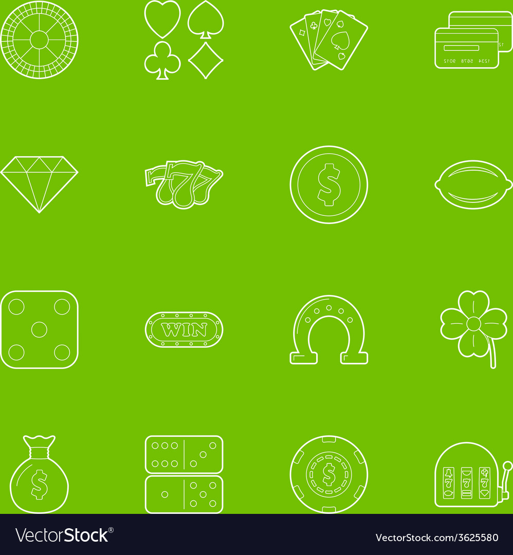 Casino thin lines icons set vector | Price: 1 Credit (USD $1)