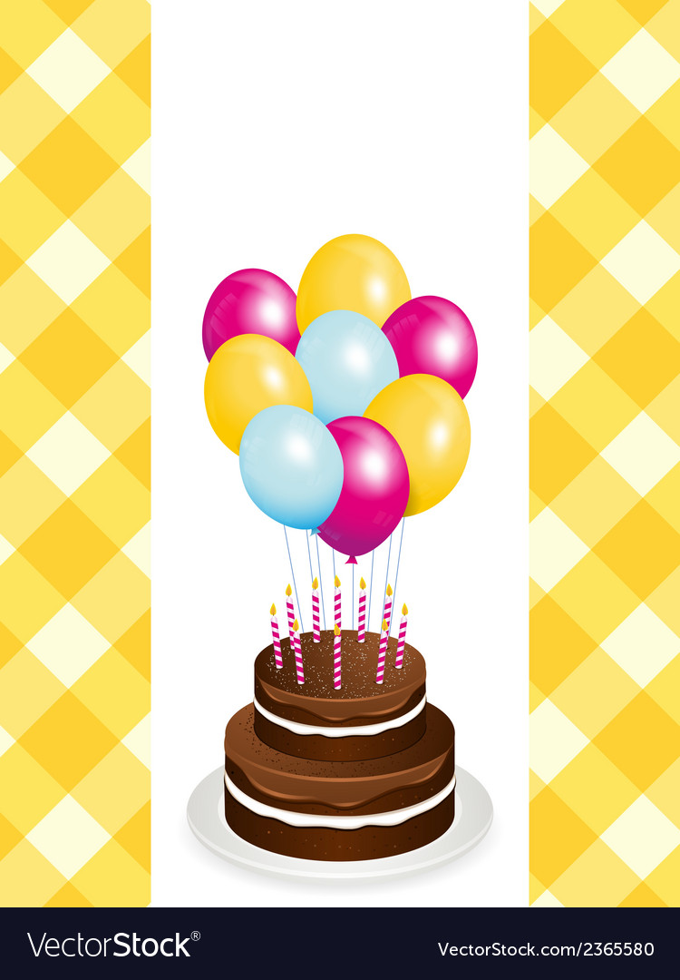 Chocolate birthday cake and balloons vector | Price: 1 Credit (USD $1)