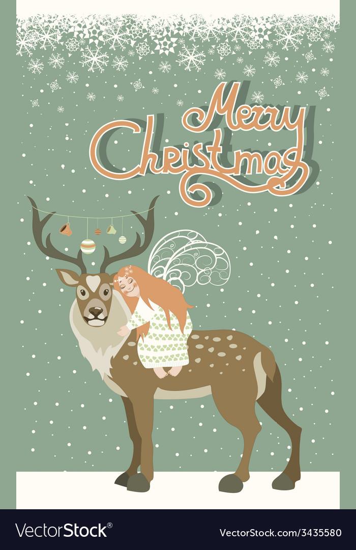 Cute angel hugs reindeer vector | Price: 1 Credit (USD $1)