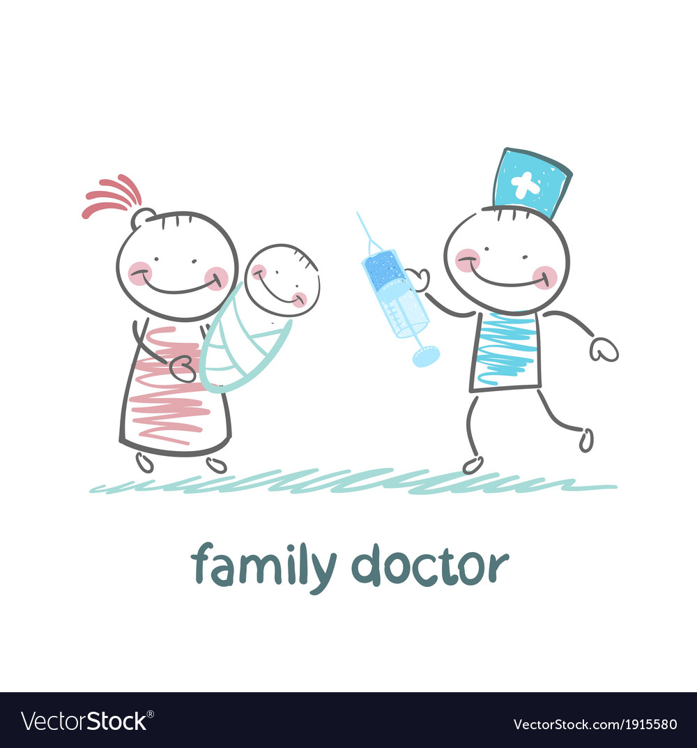 Family doctor treats her mother with a child vector | Price: 1 Credit (USD $1)