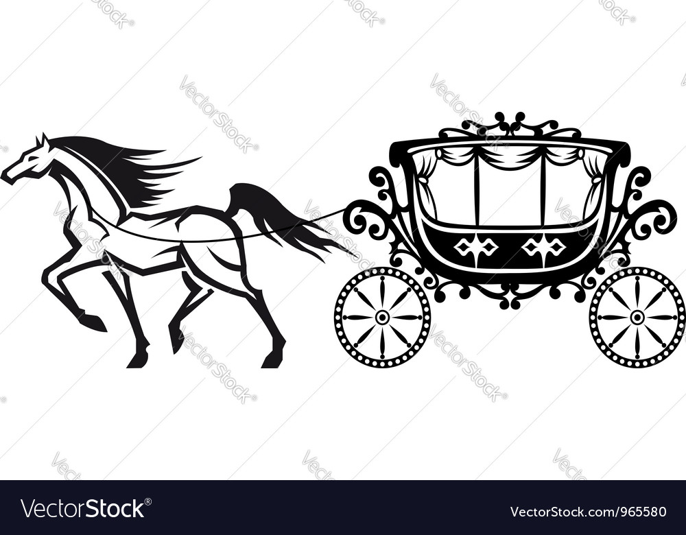 Horse with vintage carriage vector | Price: 1 Credit (USD $1)