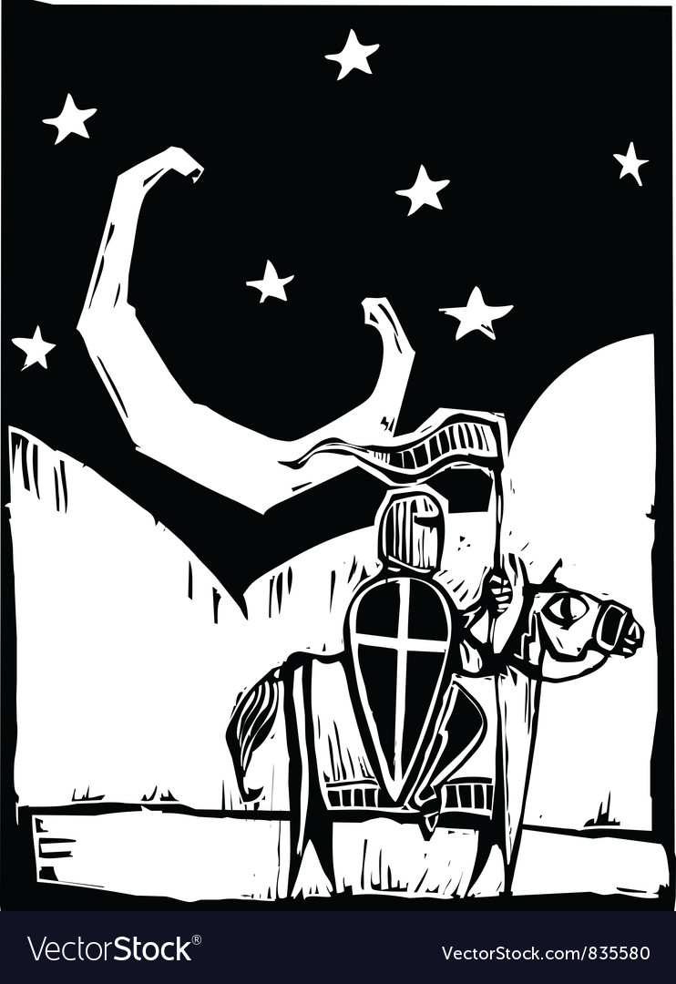 Knight beneath crescent moon vector | Price: 1 Credit (USD $1)