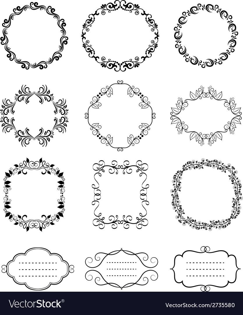 Vintage floral ornamental frames vector | Price: 1 Credit (USD $1)