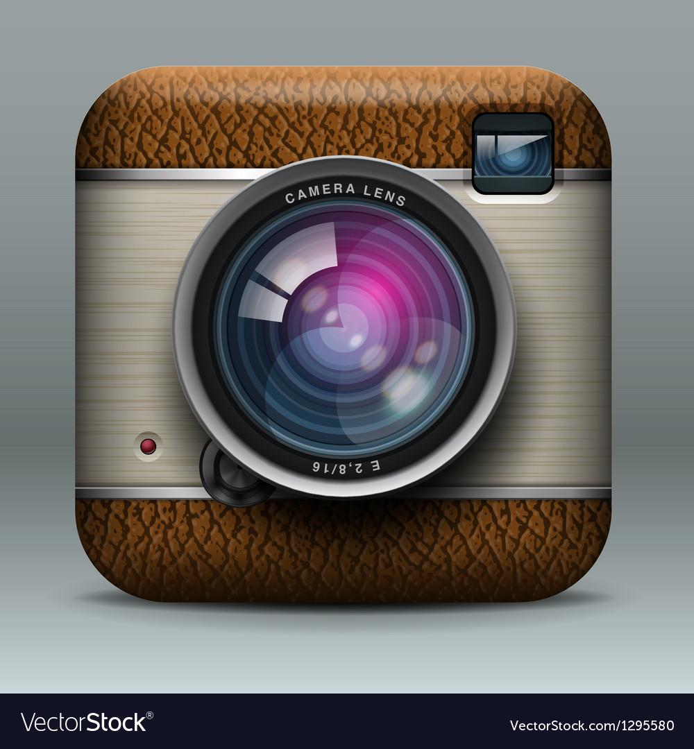 Vintage professional photo camera icon vector