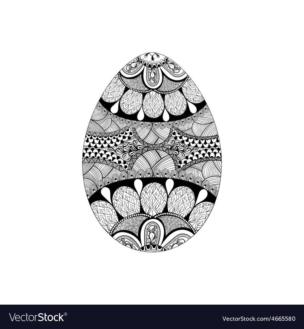 Zentangle stylized black easter egg hand drawn vector | Price: 1 Credit (USD $1)