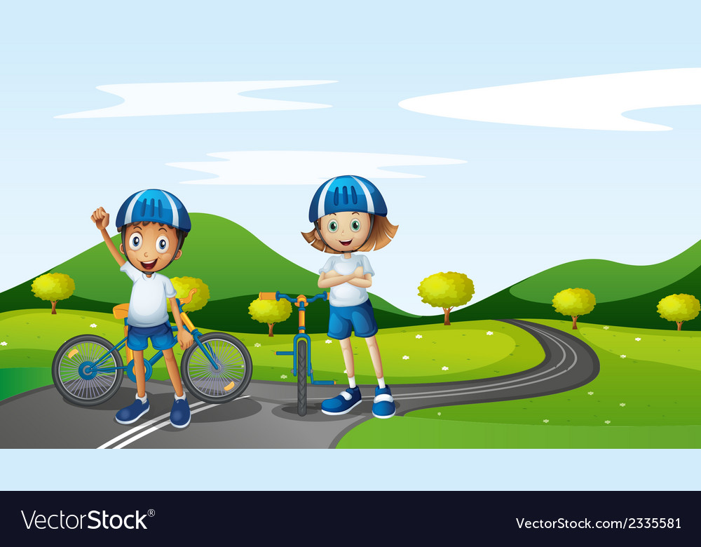 A boy and a girl biking vector | Price: 3 Credit (USD $3)