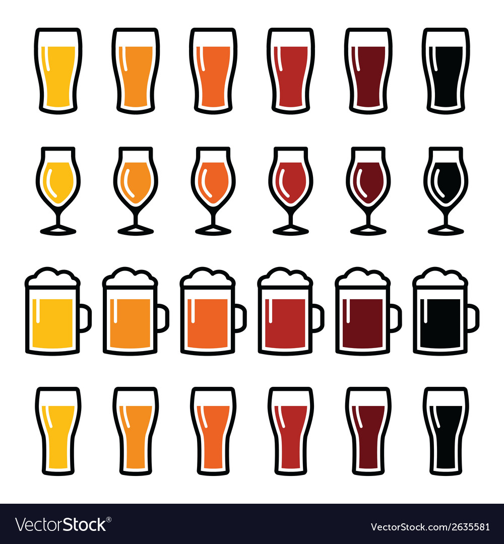 Beer glasses different types icons - lager stout vector | Price: 1 Credit (USD $1)