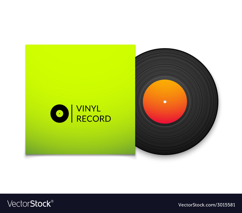Black vintage vinyl record with blank green cover vector | Price: 1 Credit (USD $1)