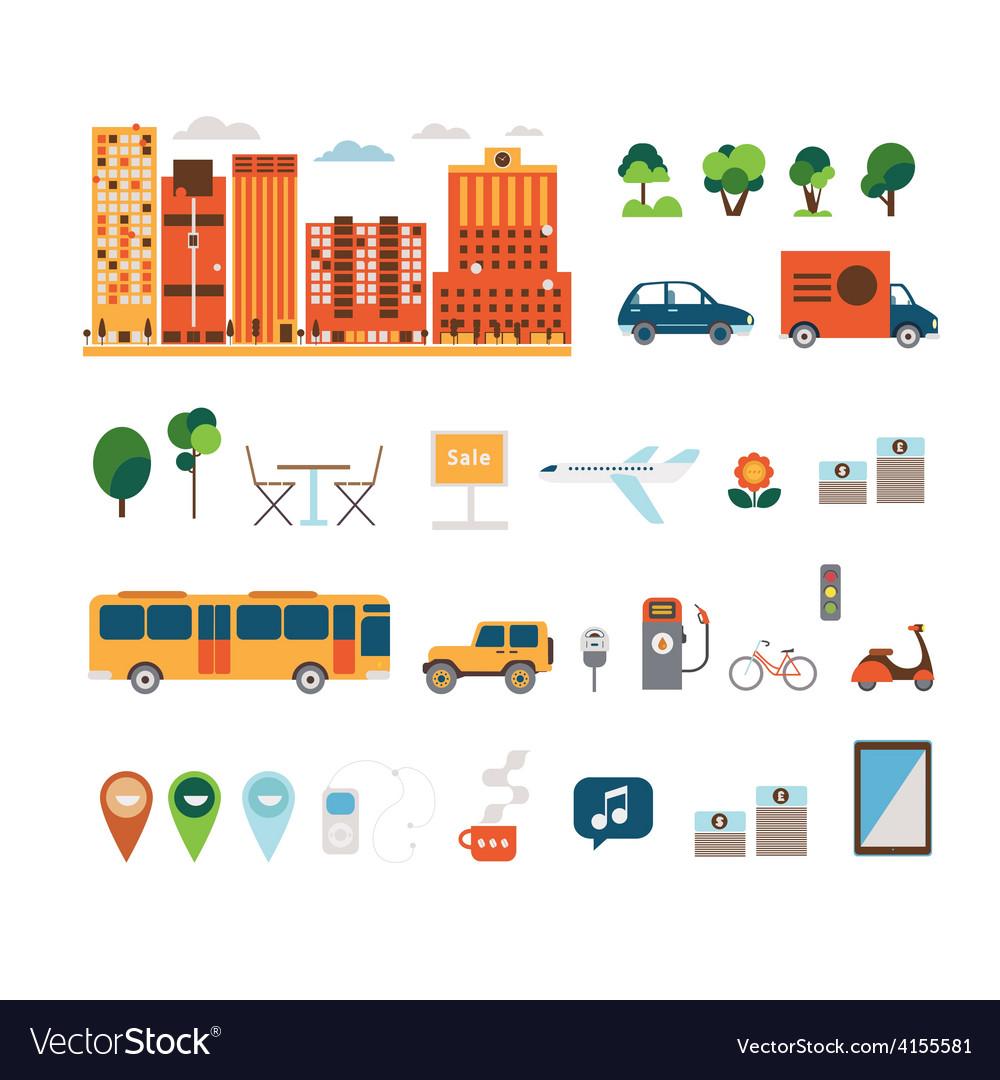 City elements clip art vector | Price: 1 Credit (USD $1)