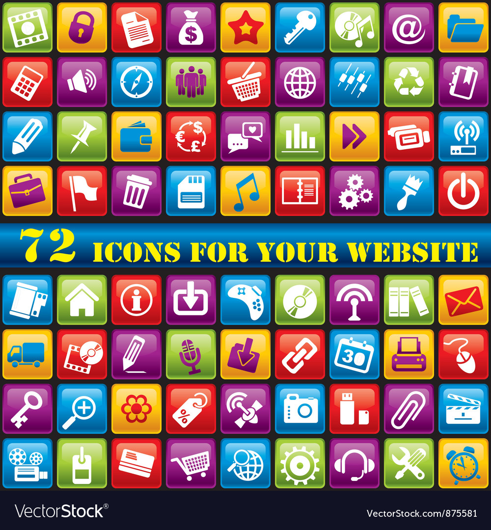 Color web icons vector | Price: 1 Credit (USD $1)