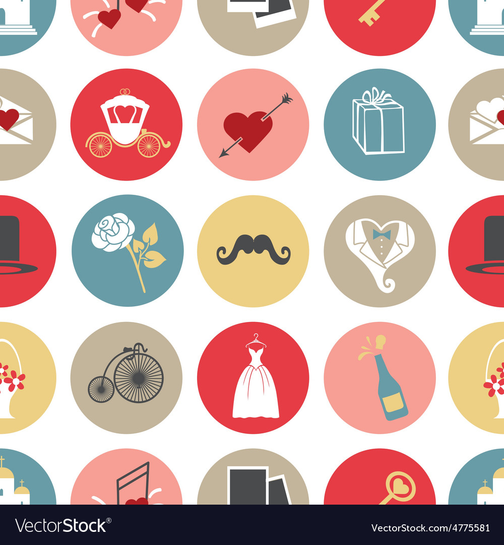 Cute flat wedding icons in modern seamless pattern vector | Price: 1 Credit (USD $1)