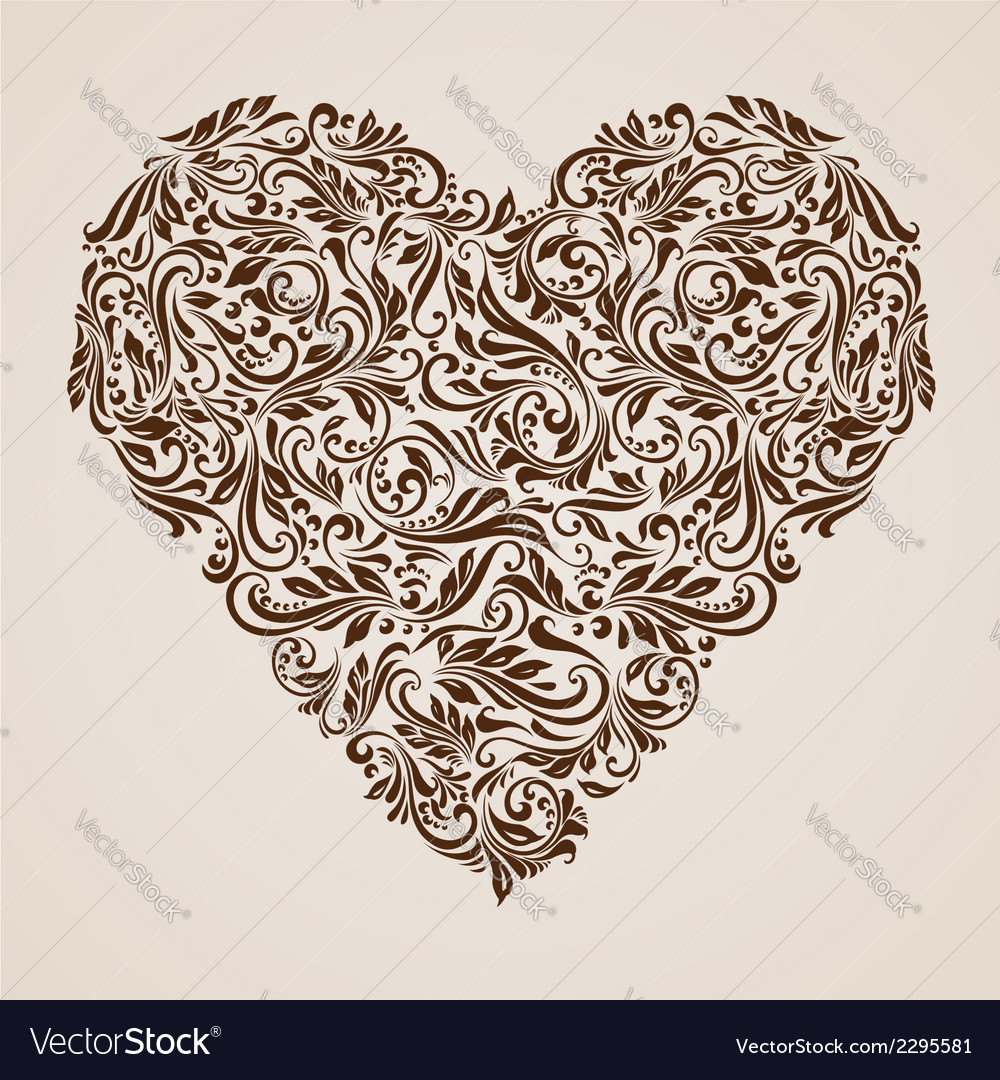 Decorated brown heart vector | Price: 1 Credit (USD $1)