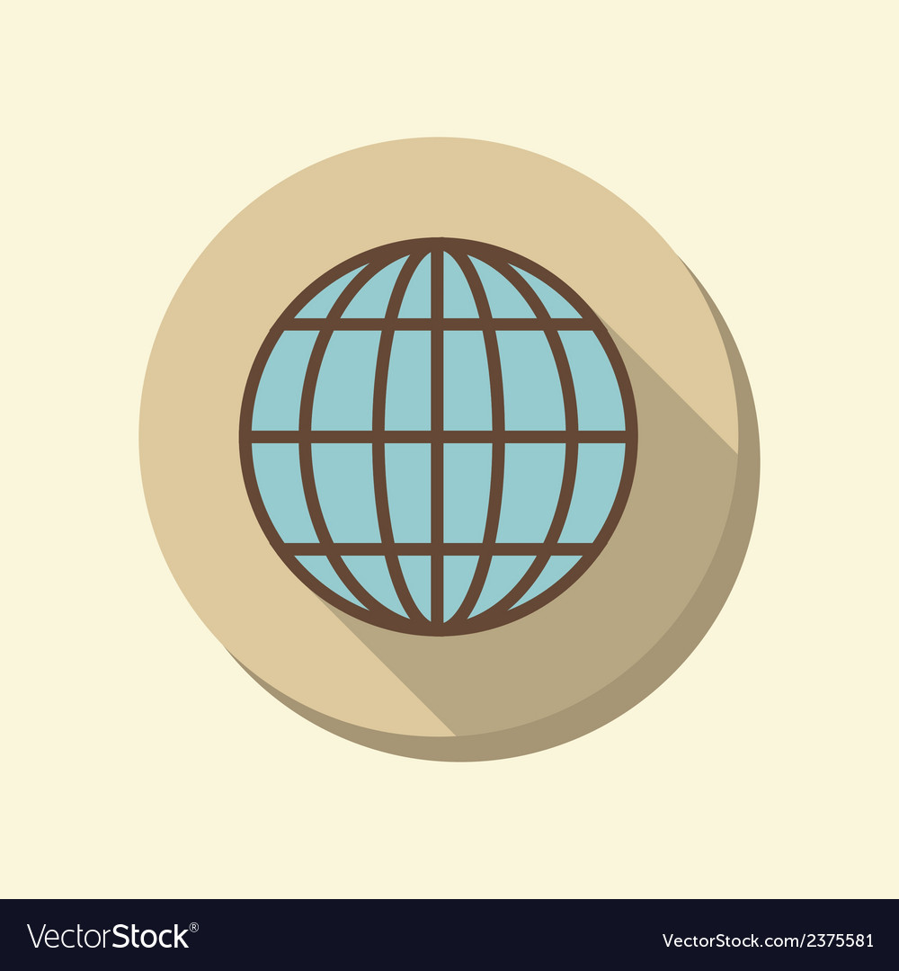 Flat web icon globe symbol vector | Price: 1 Credit (USD $1)