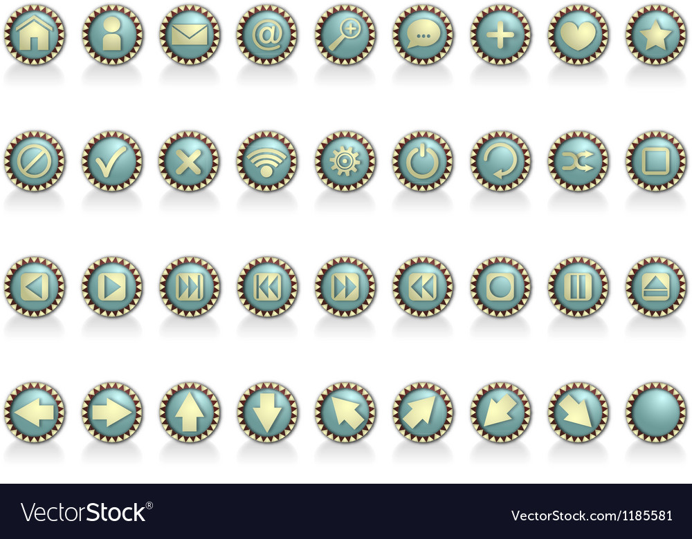 Icon set vintage vector | Price: 1 Credit (USD $1)