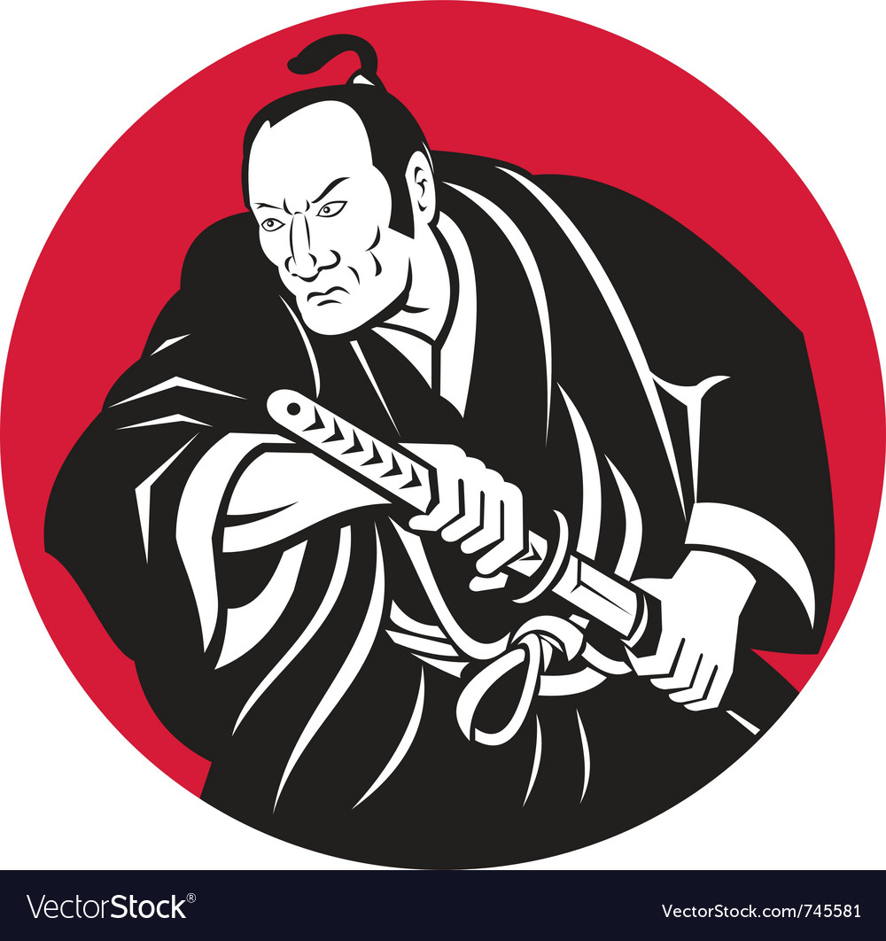 Japanese samurai warrior vector | Price: 1 Credit (USD $1)