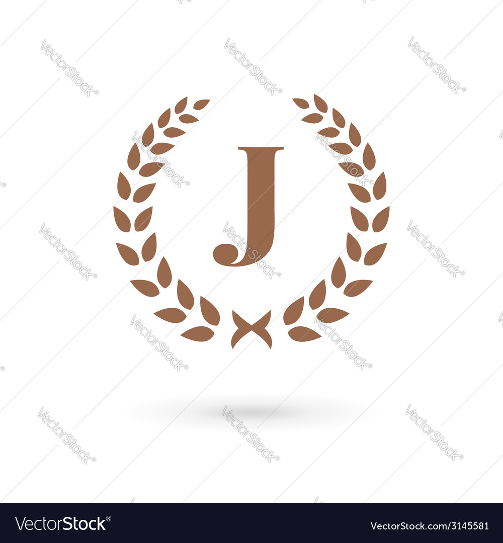 Letter j laurel wreath logo icon vector | Price: 1 Credit (USD $1)