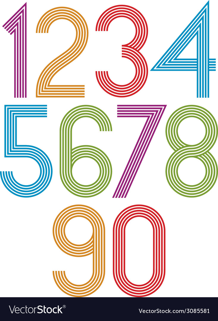 Retro stripes funky numbers set vector | Price: 1 Credit (USD $1)