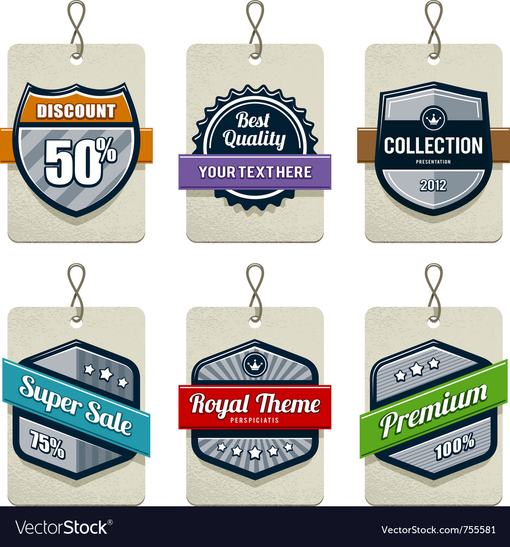 Set of retro labels vector | Price: 1 Credit (USD $1)
