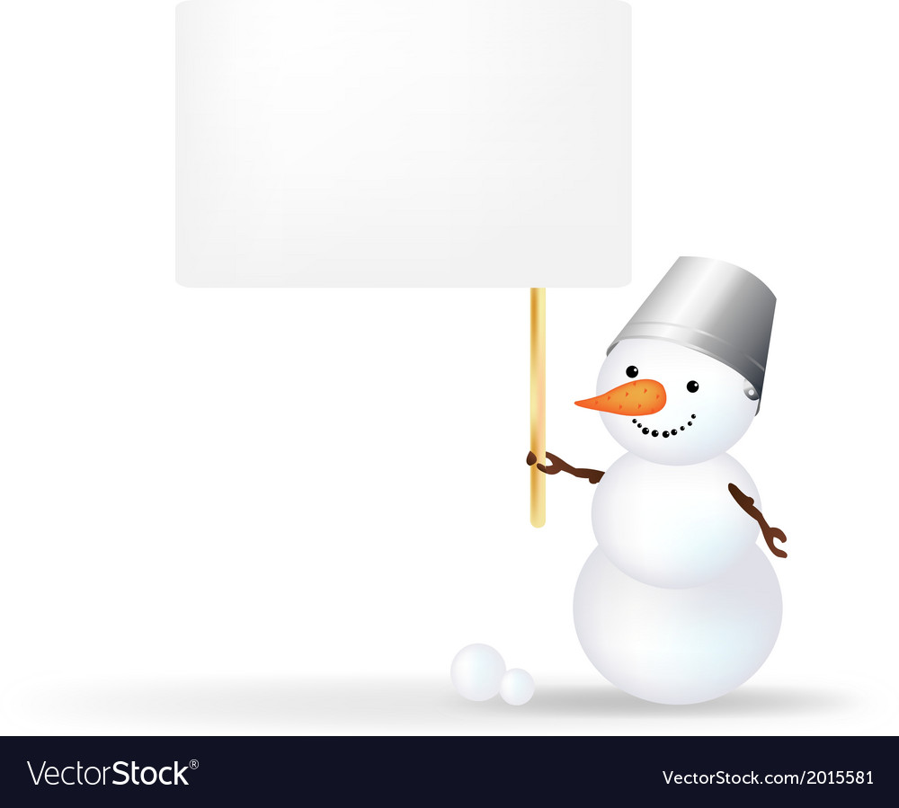 Snowman with announcement vector   Price: 1 Credit (USD $1)