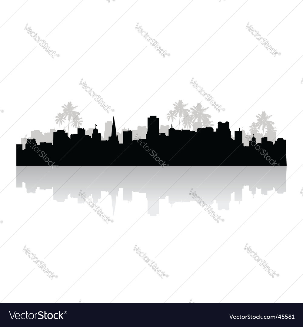 Tropical cityscape vector | Price: 1 Credit (USD $1)