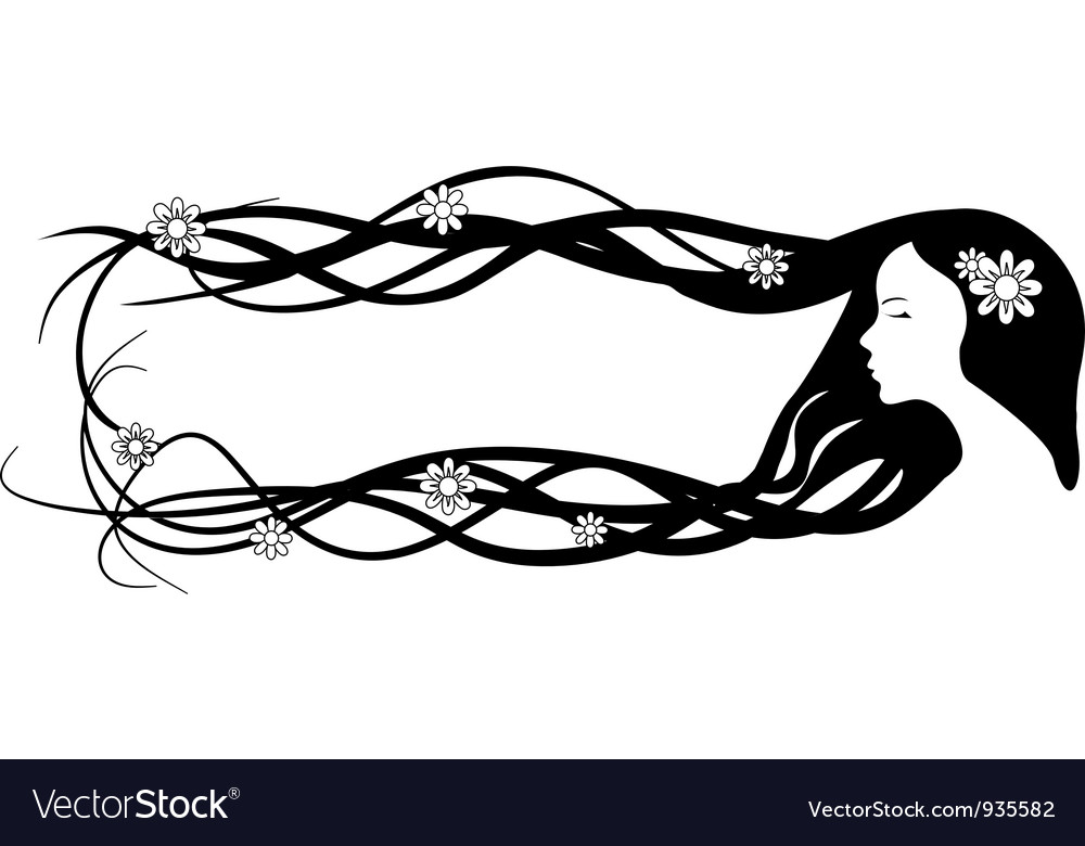 Banner of beautiful woman with very long hair vector | Price: 1 Credit (USD $1)