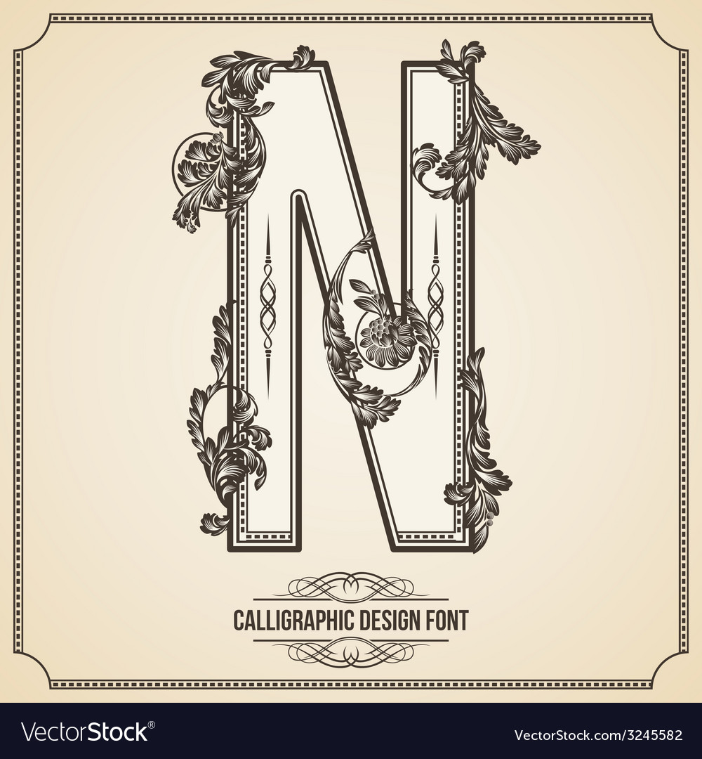 Calligraphic font letter n vector | Price: 1 Credit (USD $1)