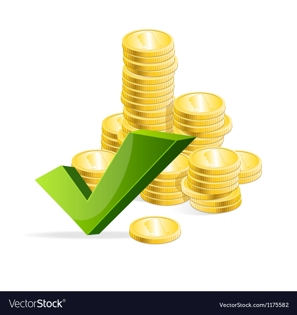 Coins stack and check mark vector | Price: 1 Credit (USD $1)