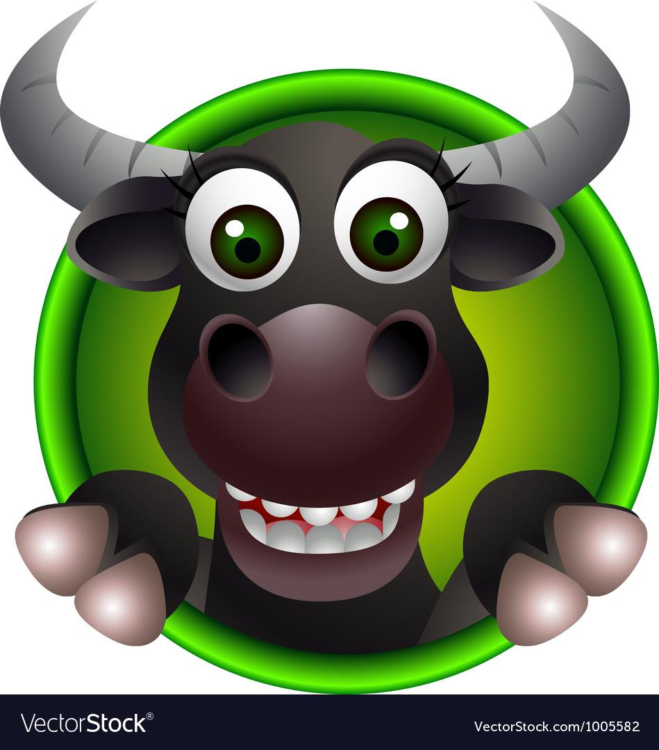 Cute buffalo head cartoon vector | Price: 1 Credit (USD $1)