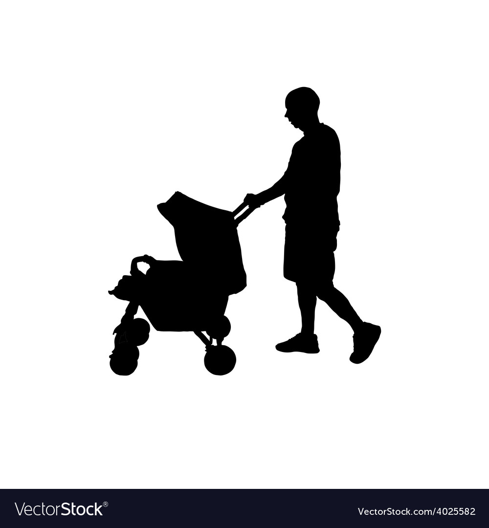 Father with baby carriage silhouette vector | Price: 1 Credit (USD $1)