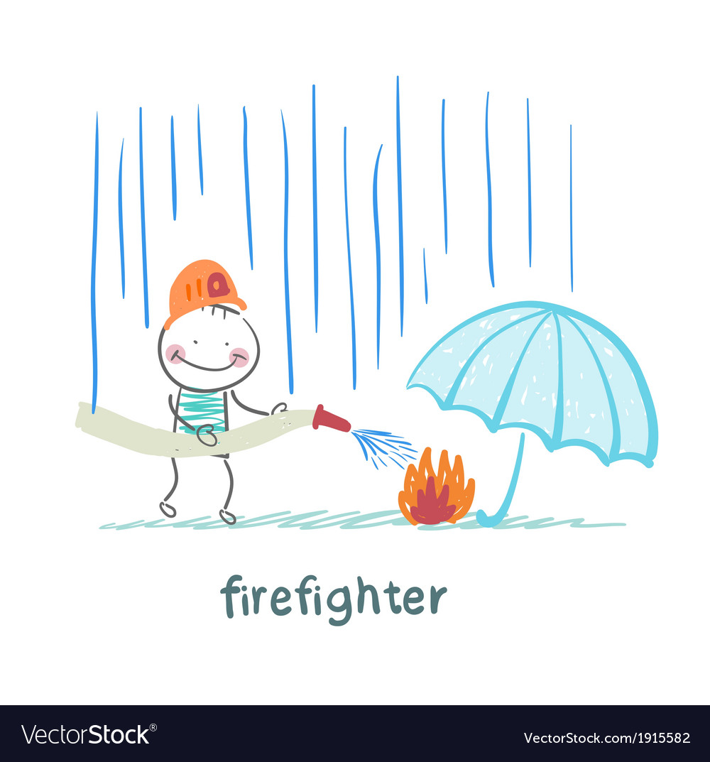 Firefighter stands in the rain and extinguish the vector | Price: 1 Credit (USD $1)