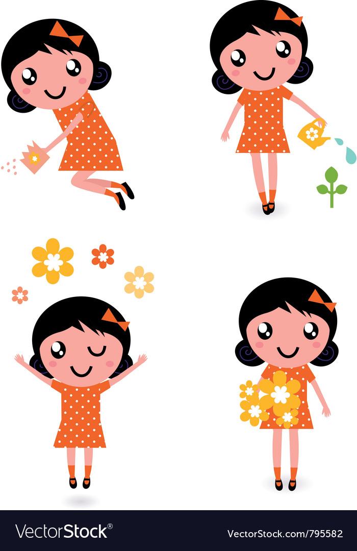 Gardener girl set vector | Price: 1 Credit (USD $1)
