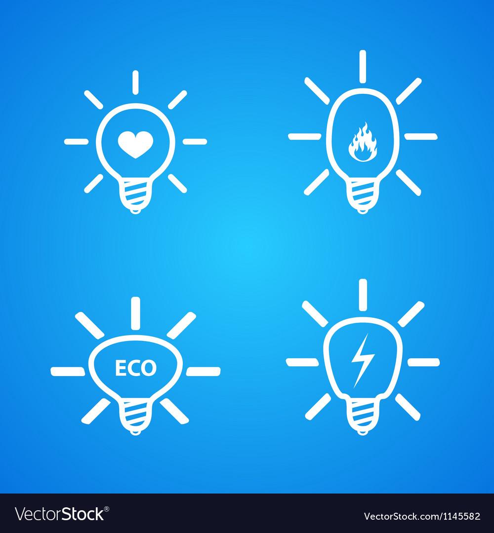 Icon set of light bulbs vector | Price: 1 Credit (USD $1)