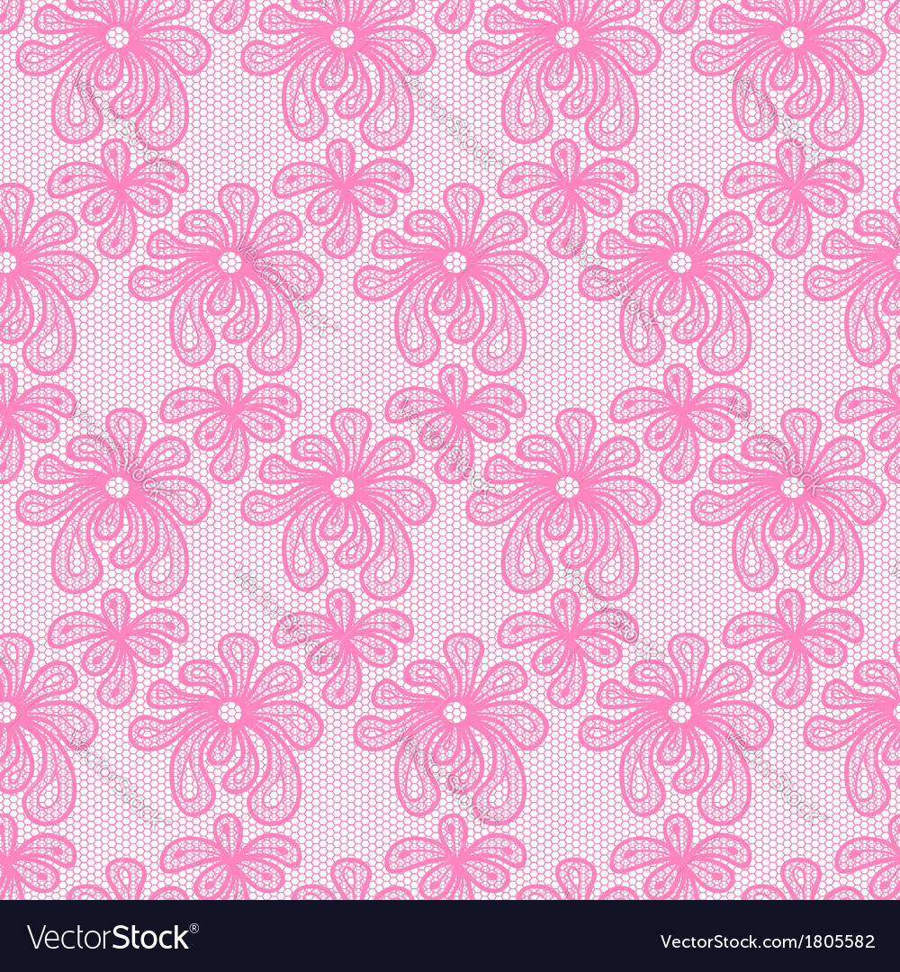 Pink seamless flower lace pattern vector | Price: 1 Credit (USD $1)