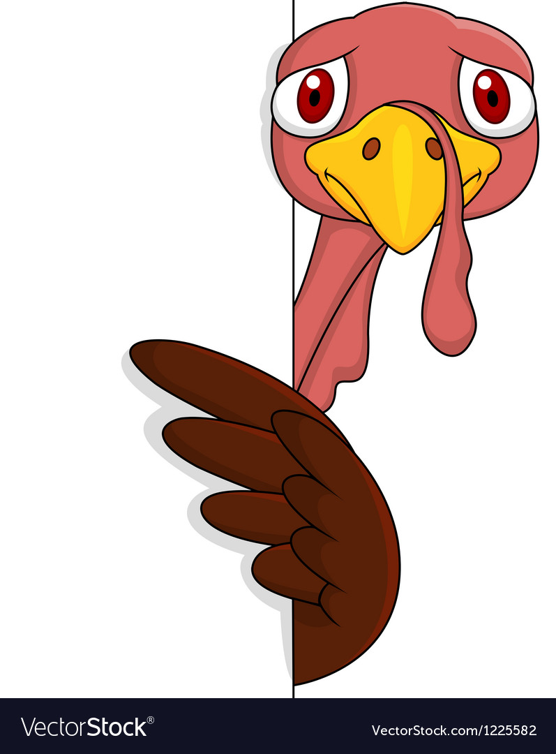 Scarred turkey with blank sign vector | Price: 3 Credit (USD $3)