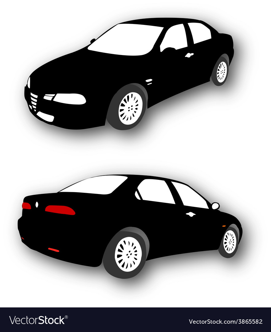 Silhouettes of car black vector | Price: 1 Credit (USD $1)