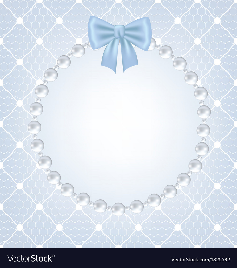 White net lace with bow and pearl frame vector | Price: 1 Credit (USD $1)