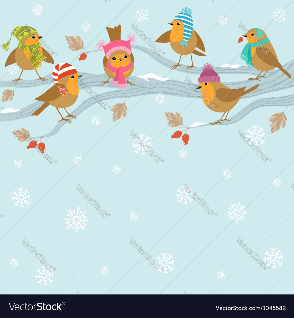 Winter background with funny birds vector | Price: 1 Credit (USD $1)
