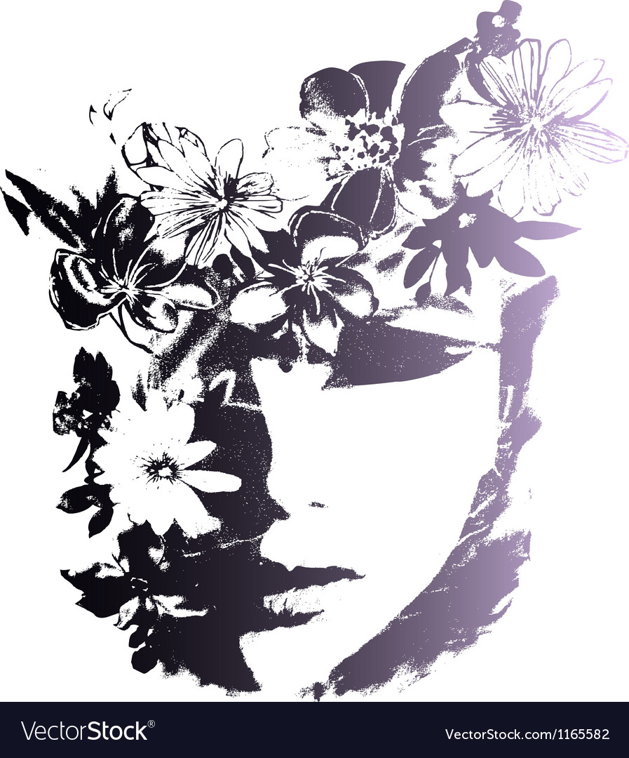 Woman with decorative flowers vector | Price: 1 Credit (USD $1)