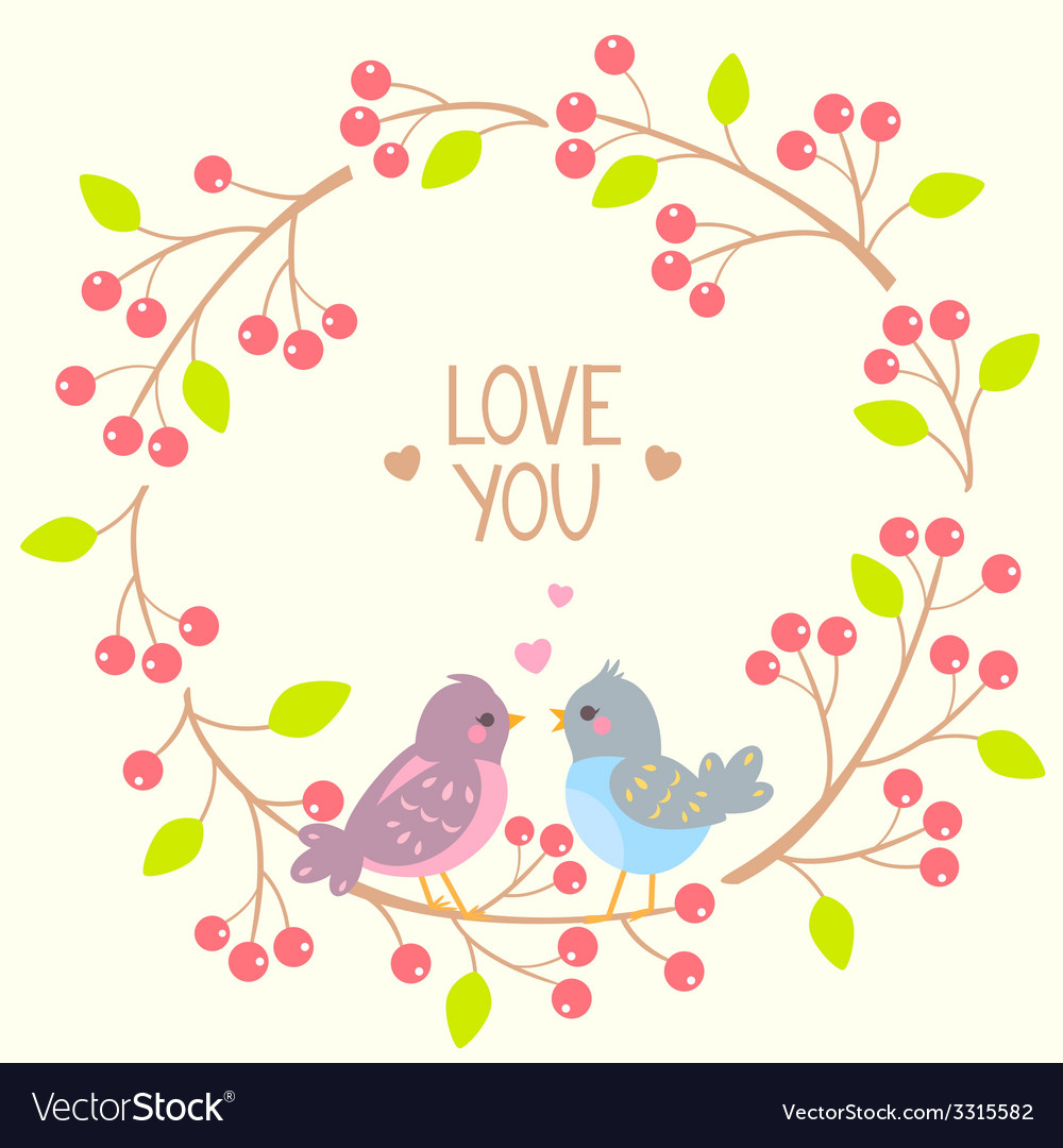 Wreath and birds vector | Price: 1 Credit (USD $1)