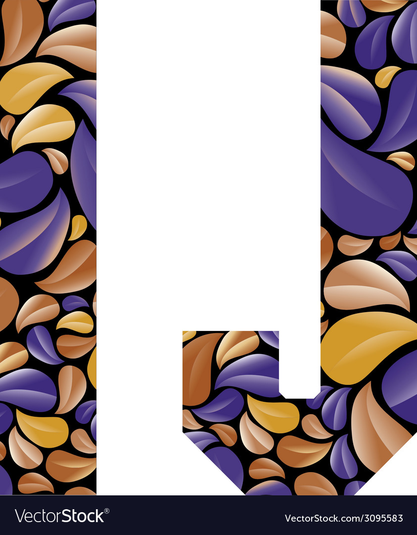 Beautiful floral alphabet letters i and j vector | Price: 1 Credit (USD $1)