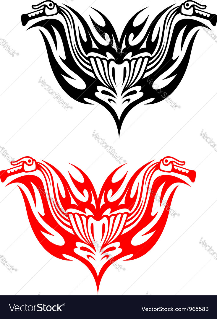 Biker tattoos with fire tribal flames vector | Price: 1 Credit (USD $1)