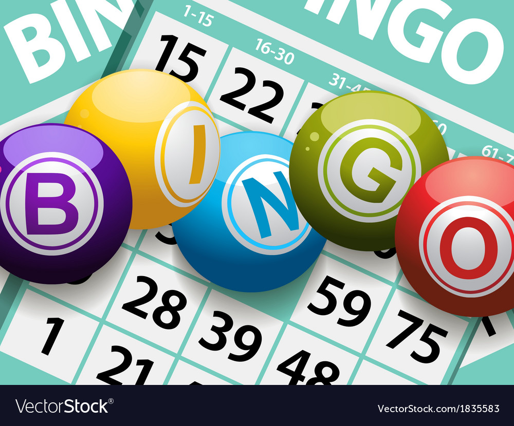 Bingo balls on a card background vector | Price: 1 Credit (USD $1)