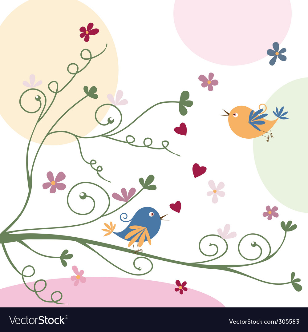 Bird and flowers vector | Price: 1 Credit (USD $1)