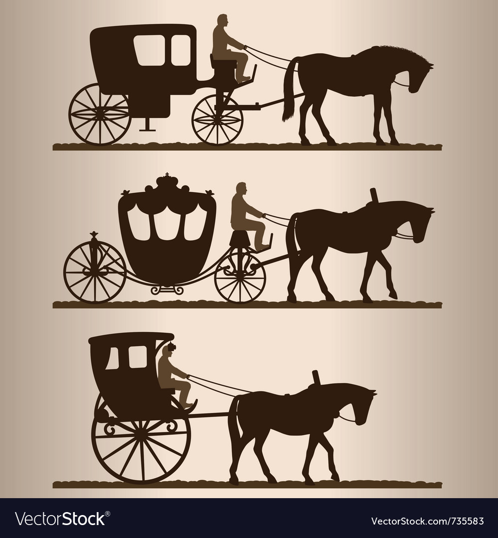 Carriages silhouettes vector | Price: 1 Credit (USD $1)